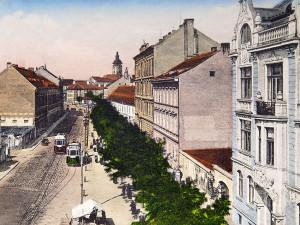 Schmerlingova třída (dnes Žižkova) před rokem 1911 směrem na Senovážné náměstí od pozdějších Českobudějovických pozemních staveb