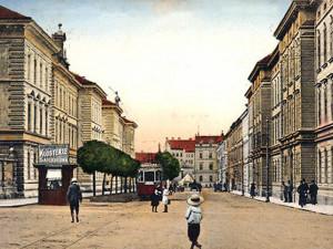 Radeckého třída, později Sokolská, dnes Žižkova, po roce 1910