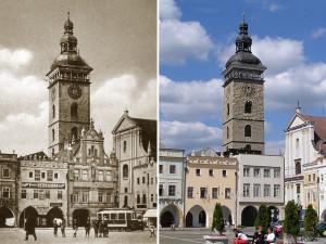 Vlevo Černá věž nad severovýchodním koutem náměstí po roce 1909, vpravo v současné době.