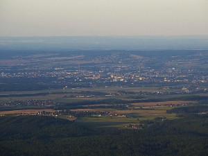 Pohled z Kleti na Teplárnu České Budějovice