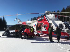 Na Lipně se při lyžování zranil osmiletý chlapec. Letěl pro něj vrtulník