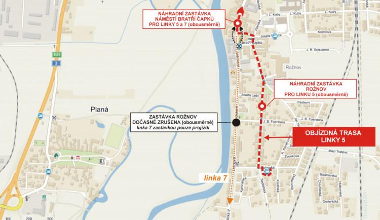 Zastávka Rožnov je dočasně zrušena, důvodem je rekonstrukce Lidické