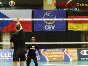 Trénink berlínských volejbalistů před zápasem s Jihostrojem