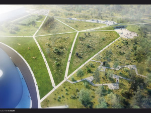 Celkový pohled na Park Čtyři Dvory ještě s Rejnokem podle původního návrhu, který byl během vypracování studie pozměněn