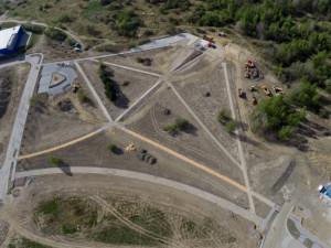 Letecký pohled z průběhu výstavby
