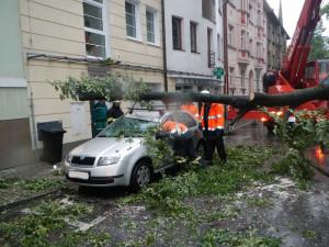 Pád větve stromu na zaparkovaná auta v ulici Československých legií. Foto HZS Jihočeského kraje