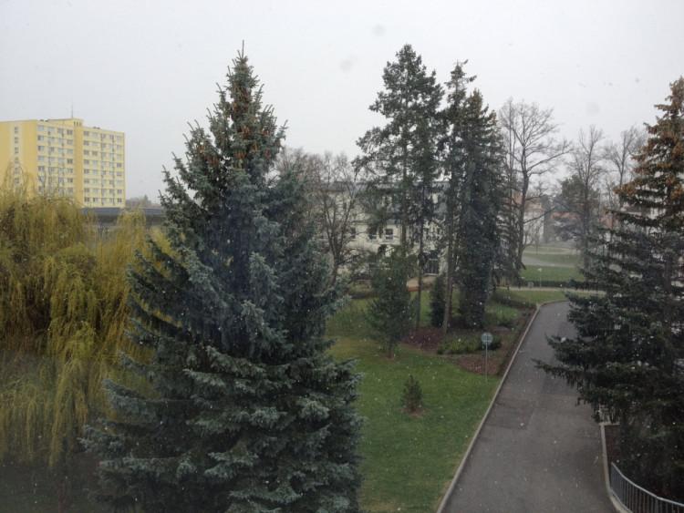 Aprílové počasí 8. dubna v Českých Budějovicích